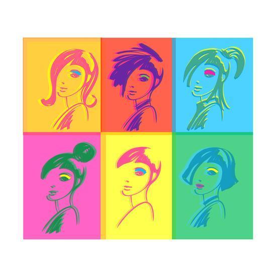 Young Fashion Woman Design, Pop Art Style-lavitrei-Art Print