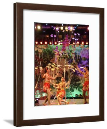 Young Female Acrobats Balance Plates on the End of Wooden Sticks-Richard Nowitz-Framed Photographic Print
