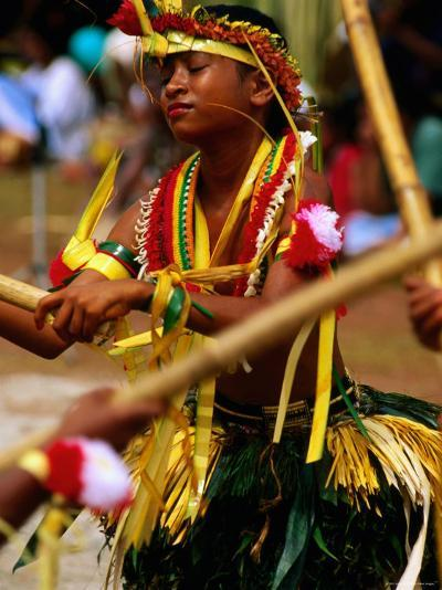Young Female Stick Dancer, Yap Day Festival-John Elk III-Photographic Print