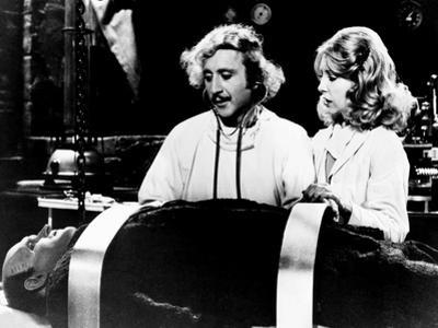 Young Frankenstein, from Left, Peter Boyle, Gene Wilder, Teri Garr, 1974