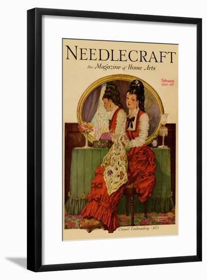 Young Gilr Embroiders a Patterned Fabric-Needlecraft Magazine-Framed Art Print