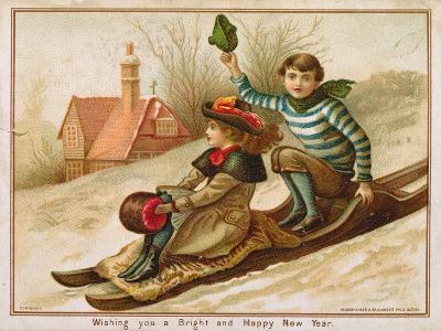Young Girl and Boy Tobogganing, Victorian Christmas and New Year Card--Giclee Print