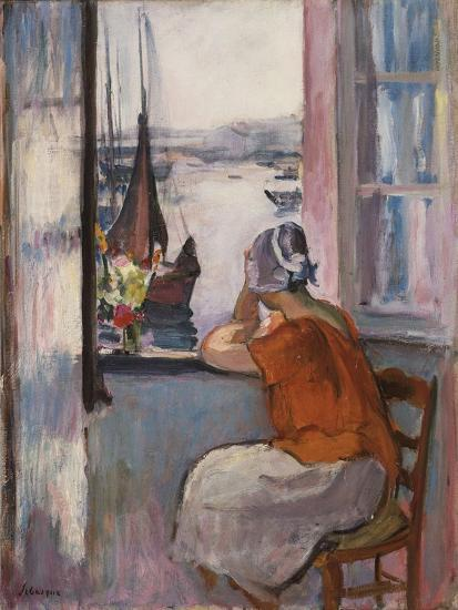 Young Girl at the Window Opposite the Island of Yeu-Henri Lebasque-Giclee Print