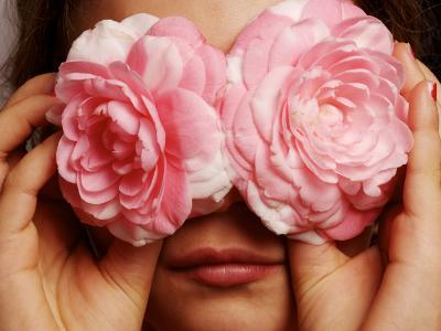 Young Girl Holding Camellia Flowers over Her Eyes-Oliver Strewe-Photographic Print