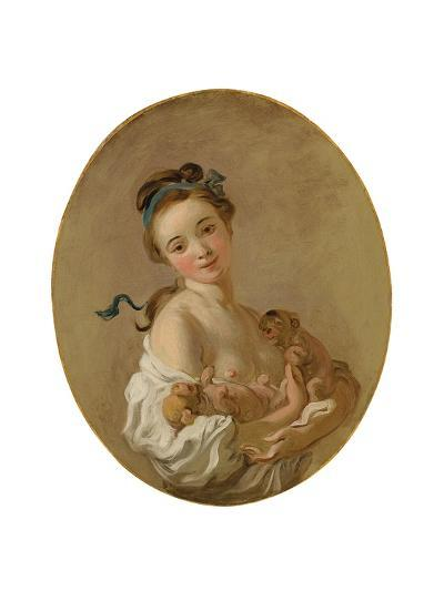 Young Girl Holding Two Puppies, C.1770-Jean-Honore Fragonard-Giclee Print