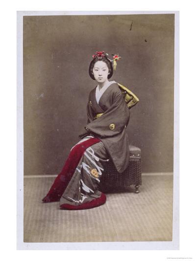 Young Girl in a Kimono, circa 1860-70--Giclee Print