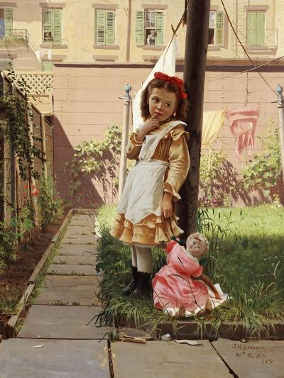 Young Girl in a New York Garden, 1871-John George Brown-Giclee Print