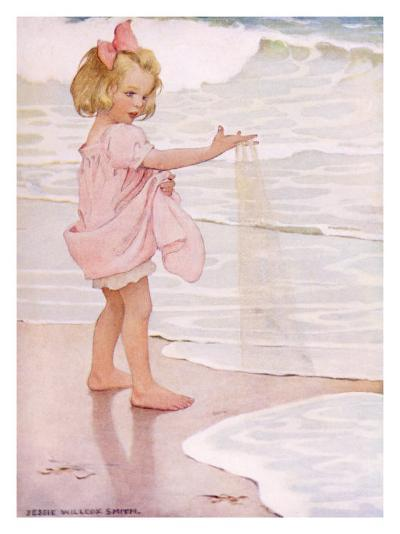 Young Girl in the Ocean Surf-Jessie Willcox-Smith-Giclee Print