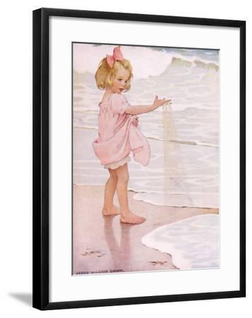 Young Girl in the Ocean Surf-Jessie Willcox-Smith-Framed Giclee Print