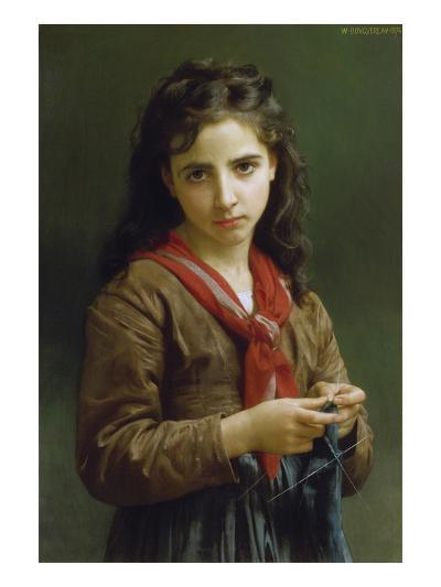 Young Girl Knitting, 1874-William Adolphe Bouguereau-Giclee Print