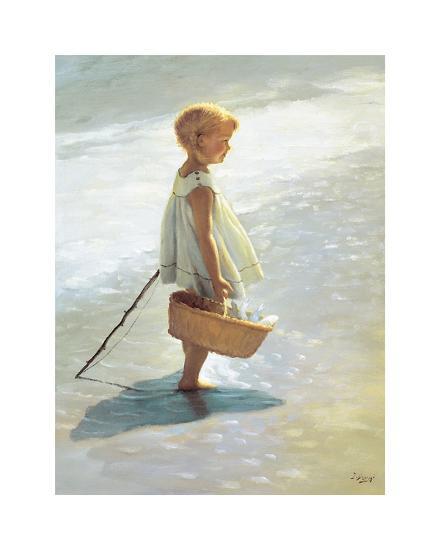 Young Girl on a Beach-I^ Davidi-Art Print