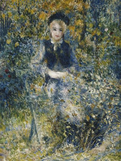 Young Girl on a Bench; La Jeune Fille Au Banc, 1875-Pierre-Auguste Renoir-Giclee Print