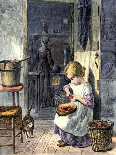Young Girl Peeling Apples for Her Mother--Giclee Print