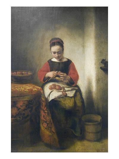 Young Girl Peeling Apples-Nicholaes Maes-Art Print