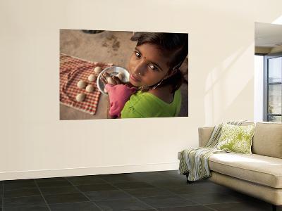 Young Girl Preparing Dough for Roti-April Maciborka-Wall Mural