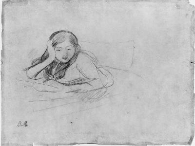 Young Girl Reading, 1889 (Black Lead on Paper)-Berthe Morisot-Giclee Print