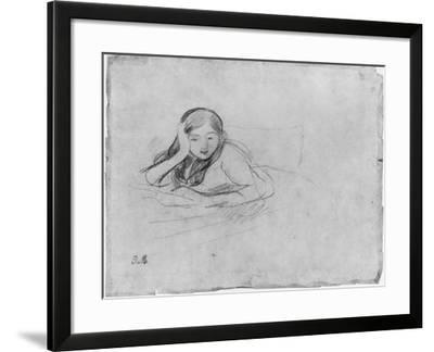 Young Girl Reading, 1889 (Black Lead on Paper)-Berthe Morisot-Framed Giclee Print