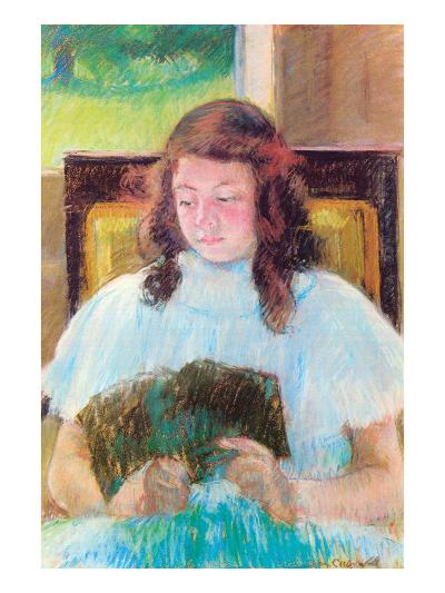 Young Girl Reading-Mary Cassatt-Art Print