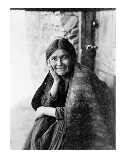 Young Girl Smiling-Edward S^ Curtis-Giclee Print