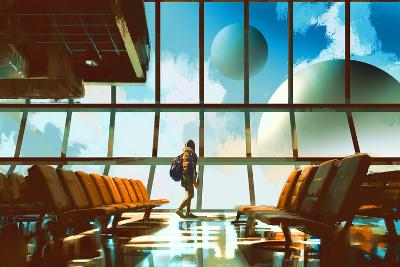 Young Girl Walking in Airport Looking Planets through Window,Illustration Painting-Tithi Luadthong-Art Print