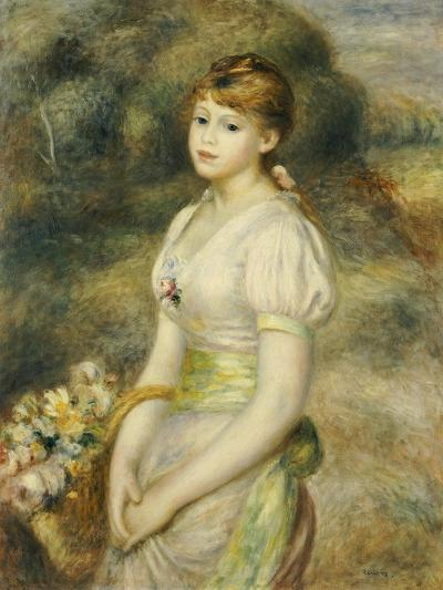 Young Girl with a Basket of Flowers-Pierre-Auguste Renoir-Giclee Print