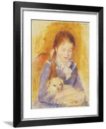 Young Girl with a Dog, C.1875-Pierre-Auguste Renoir-Framed Giclee Print