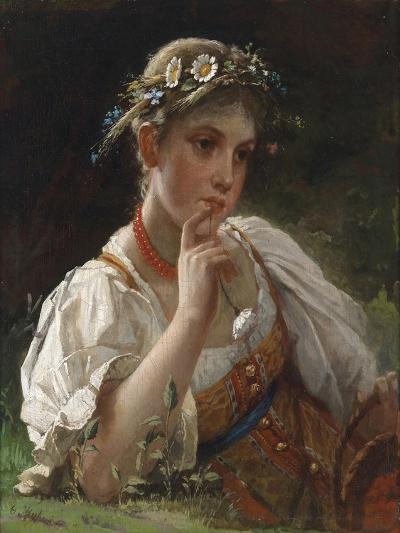 Young Girl with a Garland-Firs Sergeevich Zhuravlev-Giclee Print