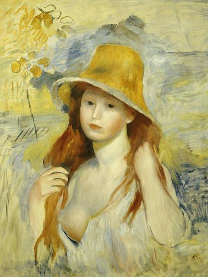 Young Girl with a Hat, 1884-Pierre-Auguste Renoir-Giclee Print