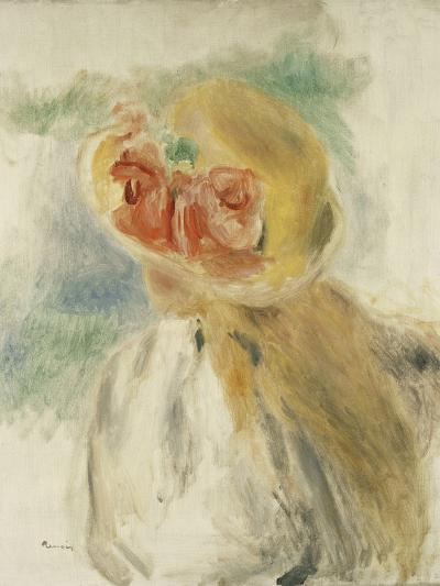 Young Girl with Flowers in Her Hat; Jeune Fille Au Chapeau Fleuri, C.1900-1905-Pierre-Auguste Renoir-Giclee Print