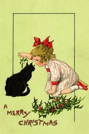Young Girl with Red Bow and Shoes Holding Mistletoe Over a Black Cat, Beatrice Litzinger Collection--Art Print