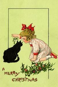 Young Girl with Red Bow and Shoes Holding Mistletoe Over a Black Cat, Beatrice Litzinger Collection