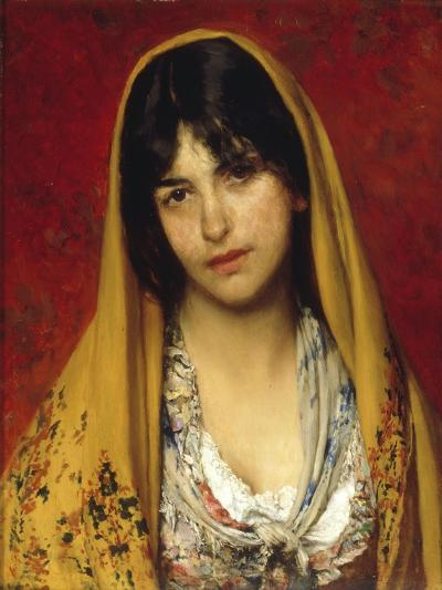 Young Girl with Veil, 1882-Eugen Von Blaas-Giclee Print