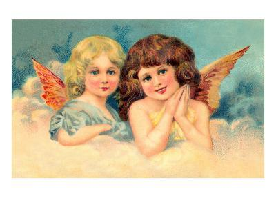 Young Girls as Cherubs, Illustration--Art Print