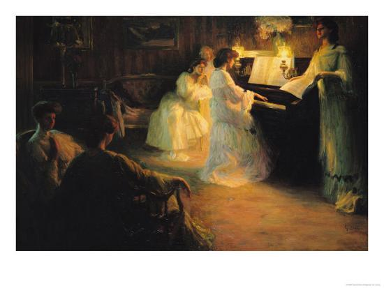 Young Girls at a Piano, 1906-Gabriel Deluc-Giclee Print