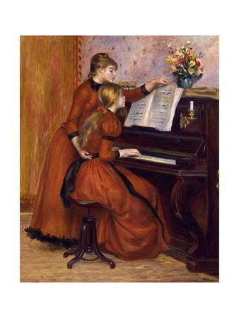 Young girls at the piano 3 by Pierre-Auguste Renoir Giclee Repro on Canvas