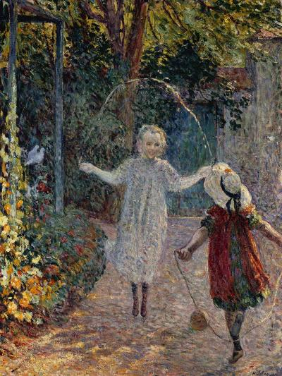 Young Girls Playing in the Garden, Fillettes Jouant Dans Un Jardin-Henri Lebasque-Giclee Print