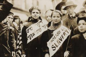 Young Girls Protest Child Labor in New York Rally and Carry Yiddish Signs