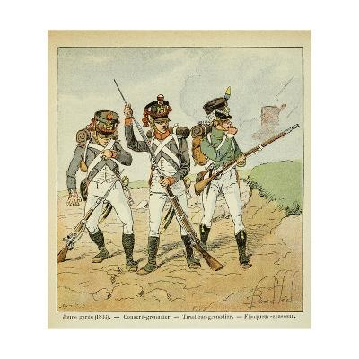 Young Guard: Conscript Grenadier, Tirailleur-Grenadier, and Flanqueur-Chasseur-Louis Bombled-Giclee Print