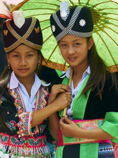 Young Hmong Women in Traditional Dress, Lao New Year Festival, Luang Prabang, Laos, Indochina--Photographic Print
