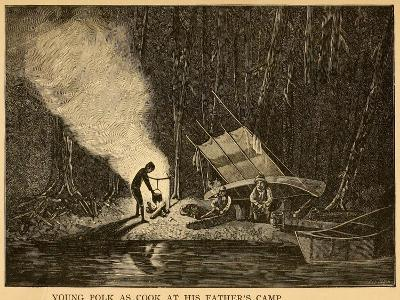 Young James Polk as Cook at His Father's Camp, 1800s--Art Print