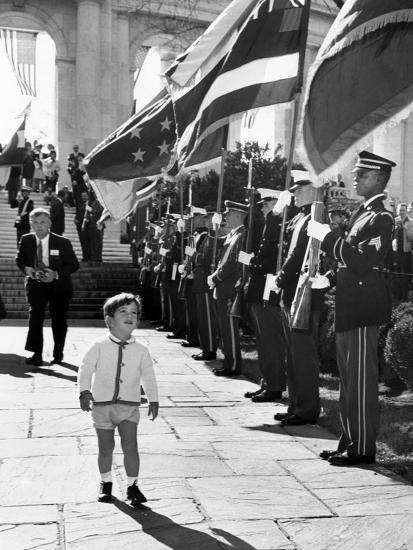Young John Kennedy Jr, the President's Son, 'Inspects' the Honor Guard--Photo