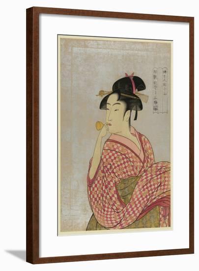 Young Lady Blowing on a Poppin-Kitagawa Utamaro-Framed Art Print