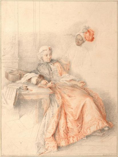 Young Lady Reading and a Page-Jacques-André Portail-Giclee Print