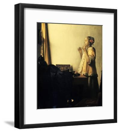 Young Lady with a Pearl Necklace-Johannes Vermeer-Framed Giclee Print