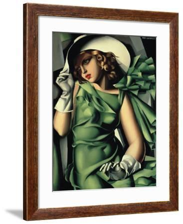 Young Lady with Gloves-Tamara de Lempicka-Framed Giclee Print
