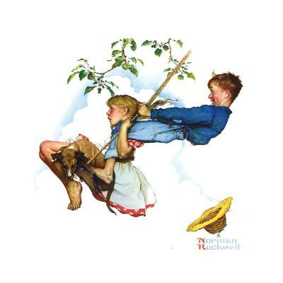Young Love: Swinging-Norman Rockwell-Giclee Print