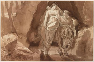 Young Man Accompanying a Young Woman on Horseback--Giclee Print