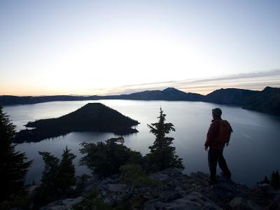 Young Man Hiking around Crater Lake National Park, Or.-Justin Bailie-Photographic Print