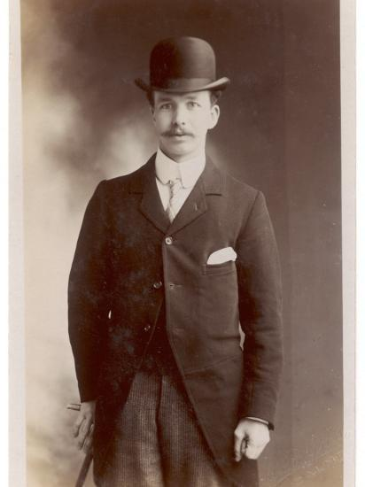Young Man in Morning Coat, Bowler Hat and Cane: Perhaps an Office Clerk--Photographic Print