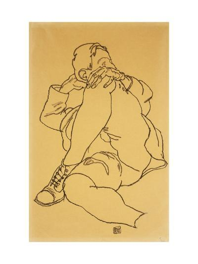 Young Man Reclining with his Head Resting on His Crossed Leg-Egon Schiele-Giclee Print